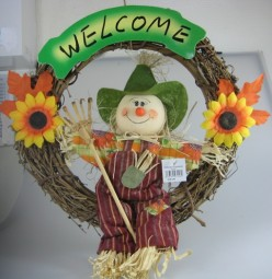 Autumn door wreath welcome with scarecrow