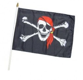 Banner at wooden stick...Pirate with scarf