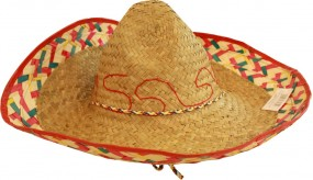 10 Sombrero Mexico Beige / pink / green raffia with cord