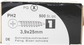 Quick construction screws Feingew. Iron black 3, 9x25mm HW 500