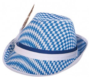 Bavaria Tyrolean hat blue / white with spring for Oktoberfest