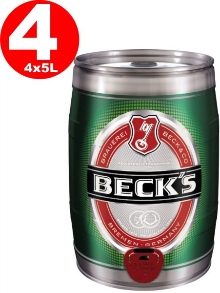 4x Becks Pils 5 liters Partyfass 4,9% vol
