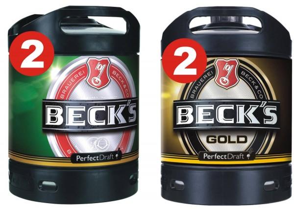 2 x Becks Pils + 2 x Becks Gold Perfect Draft 6 liter kegs 4,9% vol.