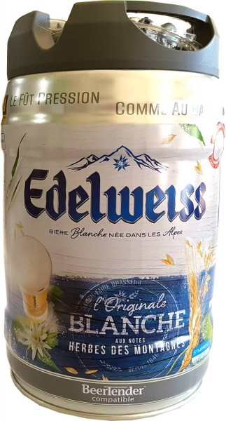 Edelweiss, blanche 5 liter party keg 5% vol wheat beer from the French Alps