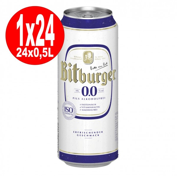 24x0,5L cans Bitburger Pilsener 0.0 ALCOHOL-FREE ONE WAY