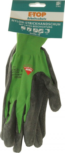 E TOP winter knitting glove with nitrile coating Gr. 10