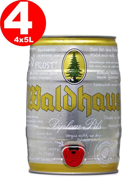 4 x Waldhaus diplom pils 5 liters 4,9% vol. Party keg