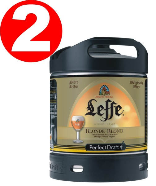 2 x Leffe beer blonde from Belgium Perfect Draft 6 liter barrel 6,6 % vol