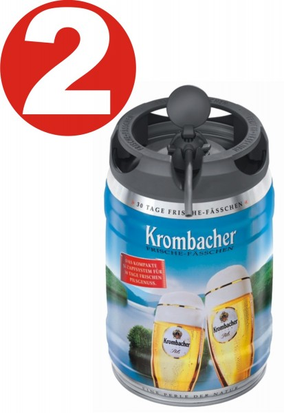 2 x Krombacher Pils fresh kegs, 5 liters of 4.8% vol