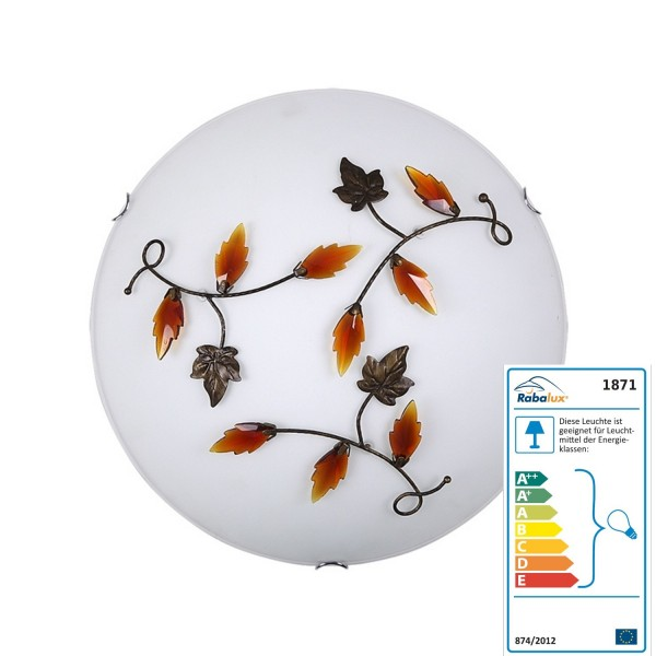 Rabalux wall and ceiling light Leaves Color: Alabaster / bronze / yellow W / Dl and swing diameter: 400