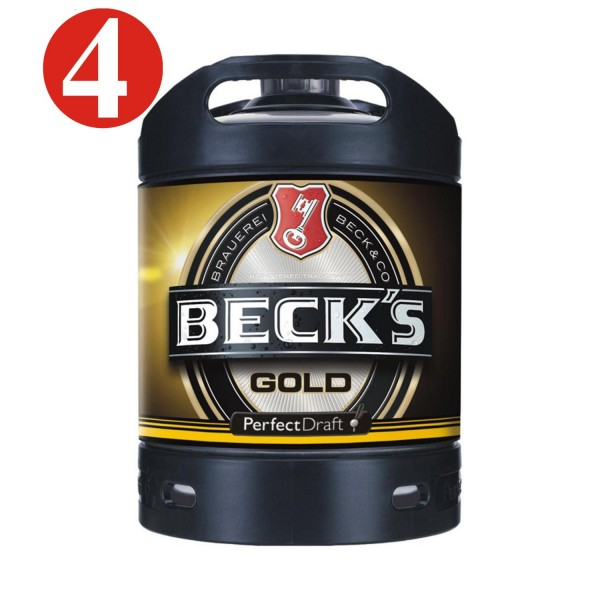 4 x Becks Gold beer keg Perfect Draft Gold 6 liter barrel 4.9%