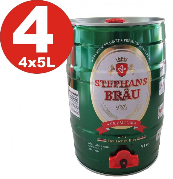 4 x Stephans Braeu Pils Premium 5 liters 4,9% vol. Party keg