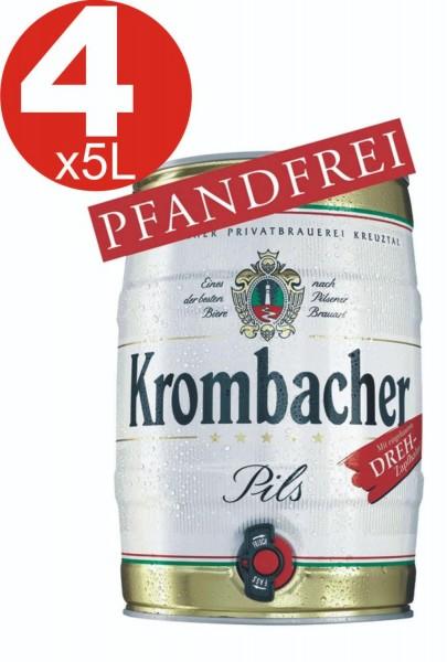 4x Krombacher keg 5 liters of 4.8% vol
