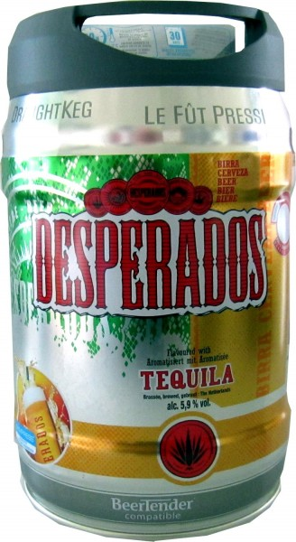 Desperados beer with Tequila in 5 liter keg incl. Spigot