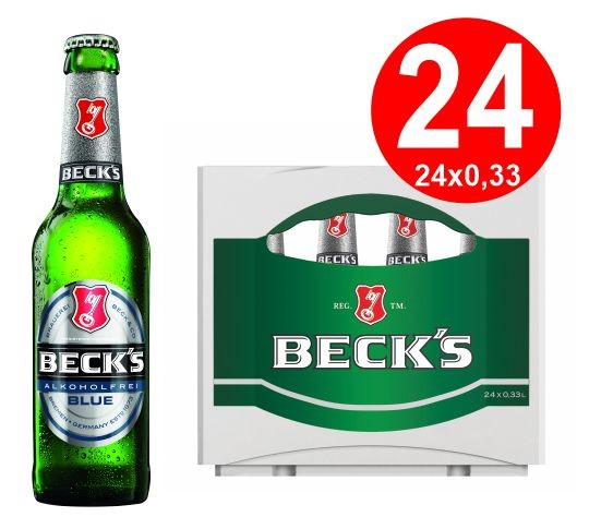 24 x Becks Blue Alcohol Free 0.33 L Original Box: <0.5% vol, alc. reusable