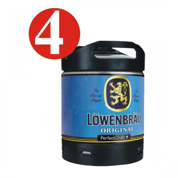 4 x Lowenbrau beer Original Perfect Draft 6 liter barrel 5.2% vol