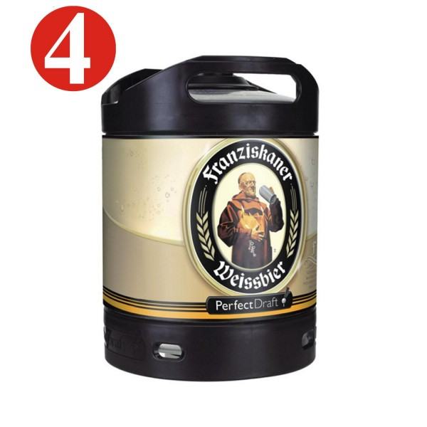 4x Franziskaner Weissbier wheat beer keg Perfect Draft 6 liter barrel 5.0% vol