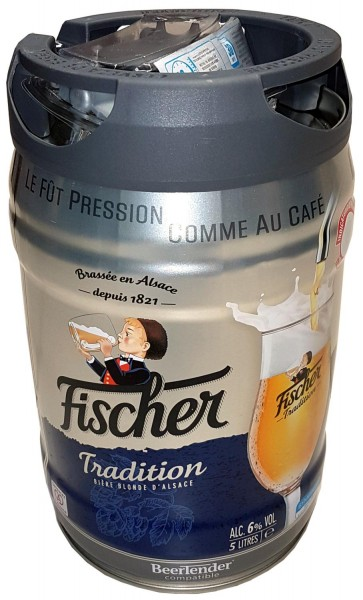 Fischer beer blonde 5 liter 6.0% vol. Party keg with tap