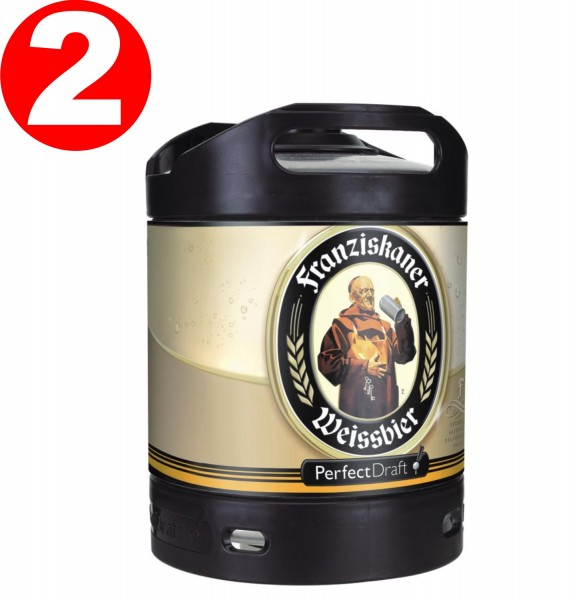 2 x Franciscan white beer Perfect Draft 6 liter barrel 5.0% vol.