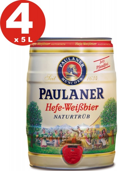 4 x Paulaner yeast white beer nature cloudy 5.5% vol 5 liter party keg