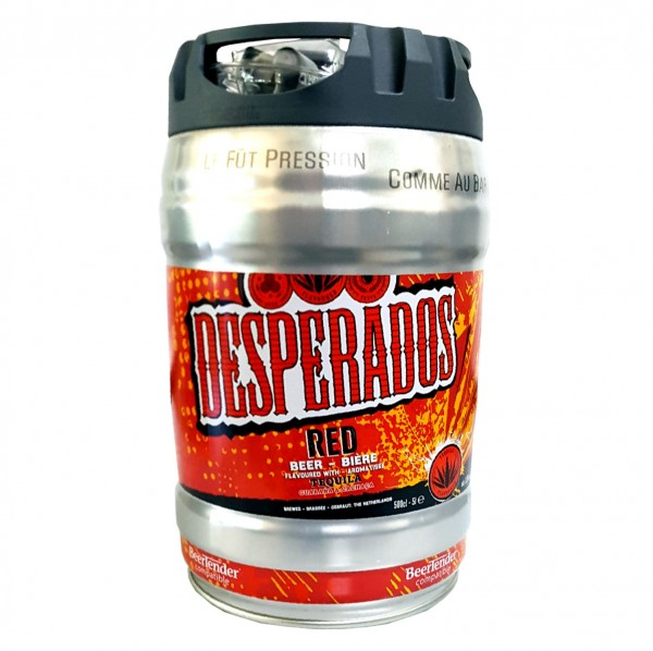 Desperados red beer with tequila, guarana, cachaca, party barrel 5 liter barrel incl. Tap 5.9% vol.