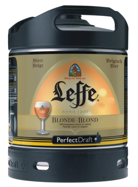 Leffe blonde beer from Belgium Perfect Draft 6 liter keg 6,6 % vol.