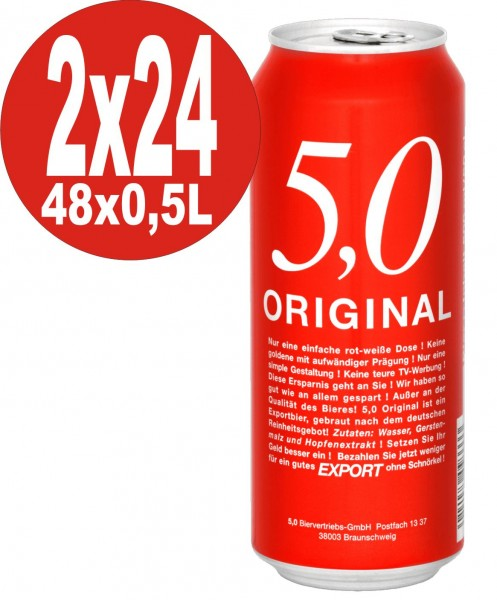 5.0 Original Export 2 x 24x0,5L cans 5.2% Vol Cheap canned beer