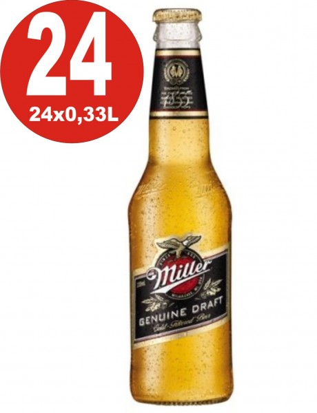 24 bottles Miller Genuine Draft USA beer 0,33L 4,7% vol. alc