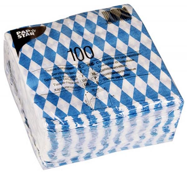 1 Pack x 100 Tissue - Napkins Bayernraute Bayrisch blue 16x16 cm