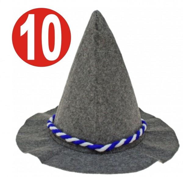 10 x Seppelhut gray heavy felt with blue / white cord for Oktoberfest 33 cm
