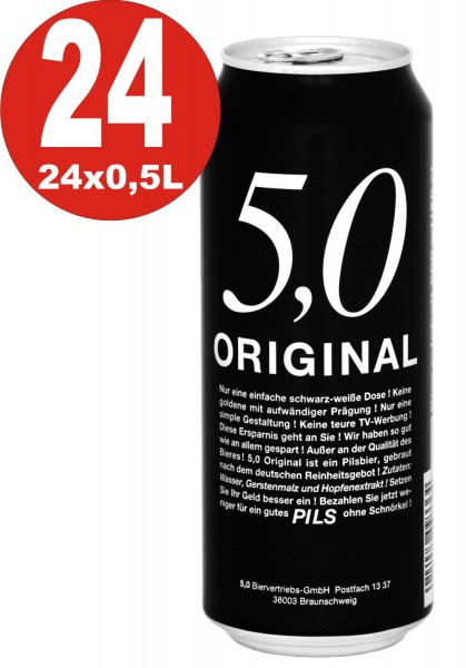 5.0 Original Pils 24x0,5L cans 5% Vol Cheap canned beer
