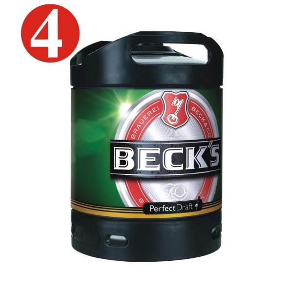 4x Beck's Pils keg Perfect Draft 6 liter barrel 4.9% vol