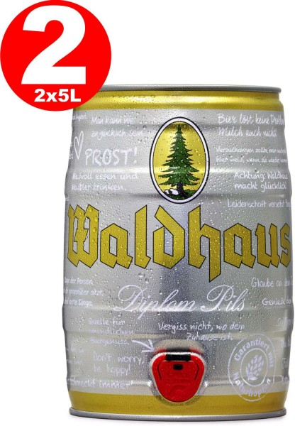 2 x Waldhaus diplom pils 5 liters 4,9% vol. Party keg