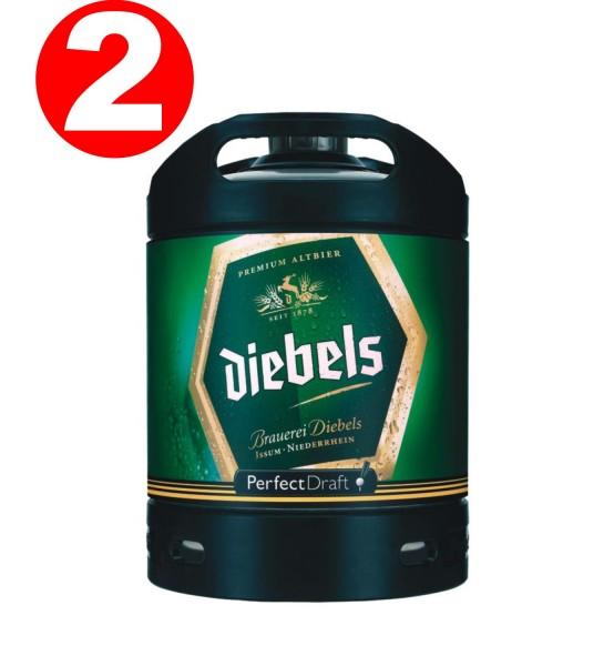 2 x Diebels Alt beer Perfect Draft barrel 6 liters of 4.9% vol.