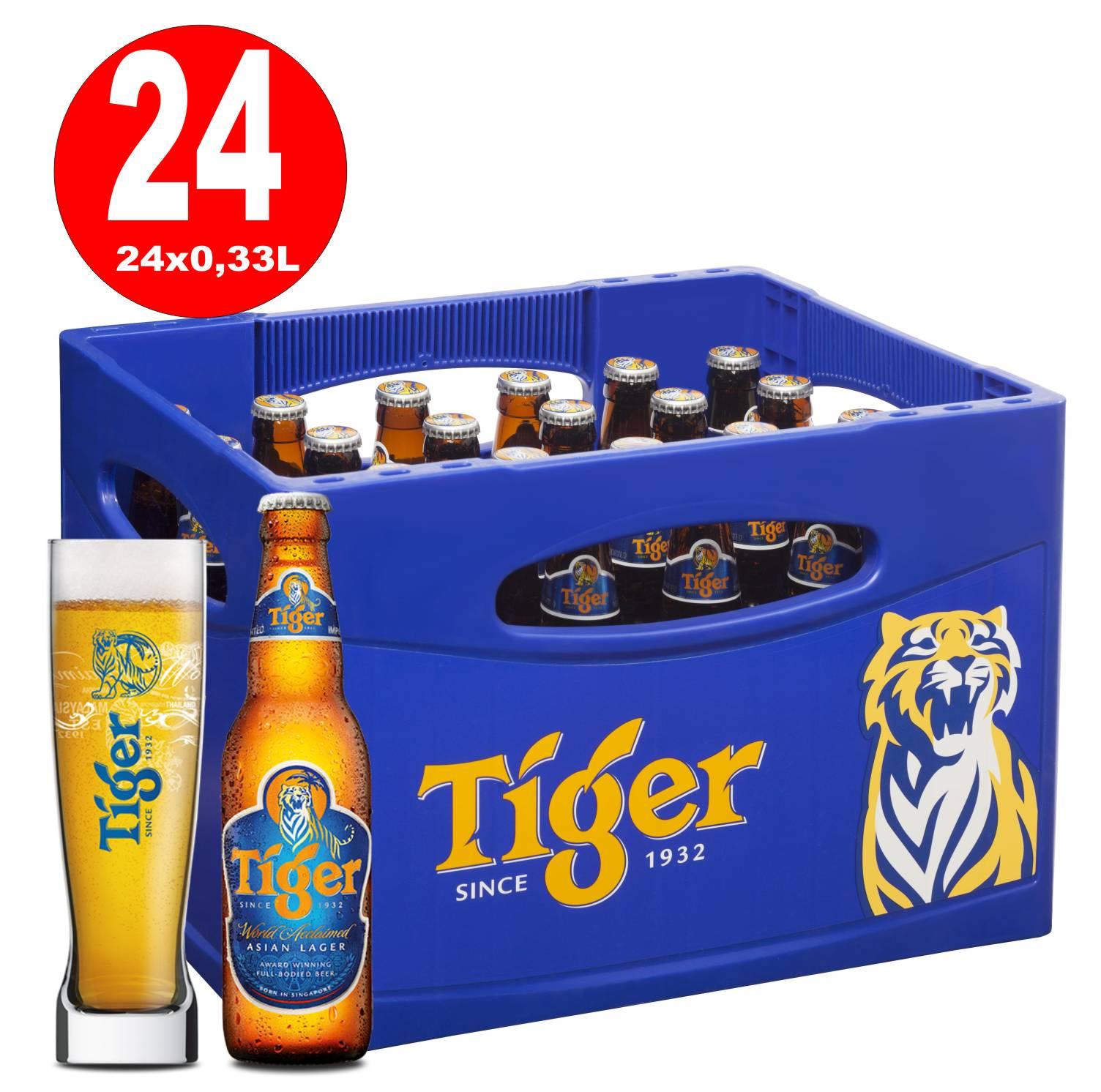 24 x Tiger Beer Original Asia 0 33L Original Box 0 33L Bottle 5 0% vol   MULTIPLE