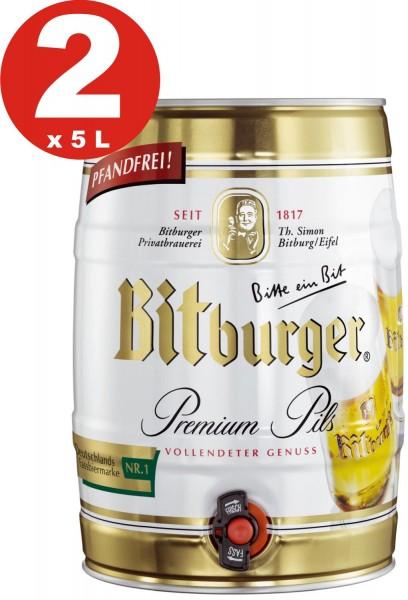 2 x Bitburger Premium Pils 5 liter party keg 4,8% vol