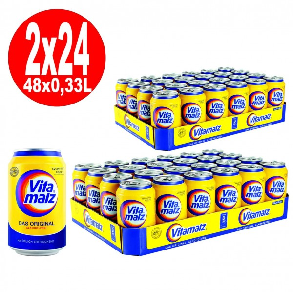 2 x 24 x cans of Vitamalz 0.33L cans non-alcoholic disposable