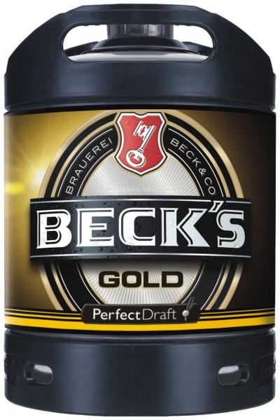 Becks Gold beer Perfect Draft Gold 6 liter keg 4.9% vol.