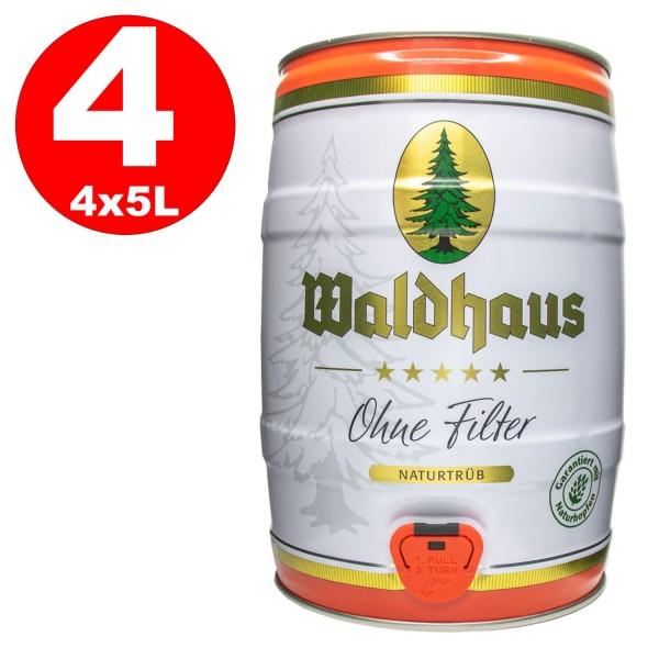 4 x Waldhaus sin Filter Naturtrüb 5 L party keg 5.6% vol. La cerveza de los hombres
