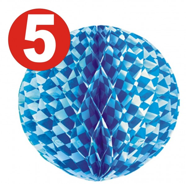 5 x Honeycomb Ball Ø 30 cm Bavarian Blue flame retardant