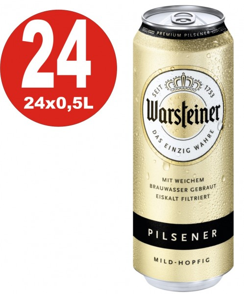 Warsteiner Pilsener 24x0,5L doses 4.8% vol