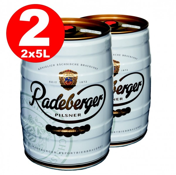 2 x Radeberger Pilsener 5 liter party keg 4.8% vol - disposable deposit