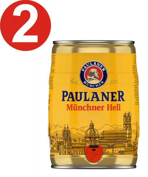 2 x Paulaner Muenchner Hell 5 liters of 4.9% vol party box
