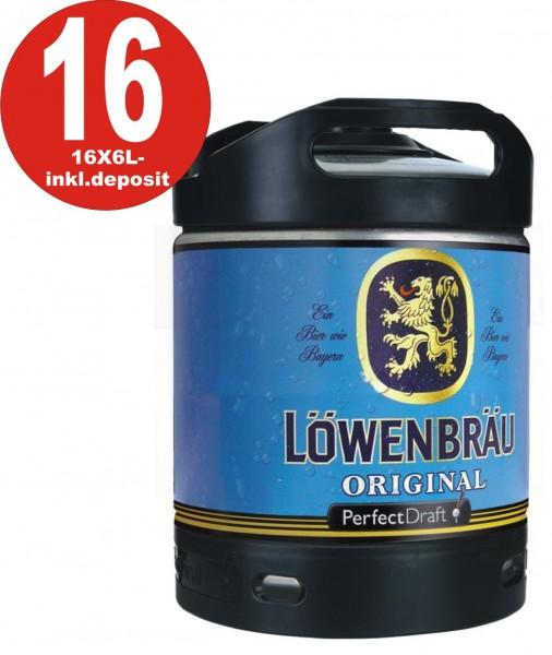 16 x Löwenbräu Original Perfect Draft 6 liter barrel 5.2% vol - including deposit