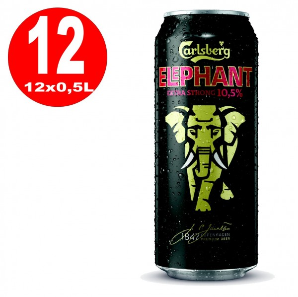 12x 0,5L cans Carlsberg Elephant Beer extra strong strong beer 10.5% Vol EINWEG