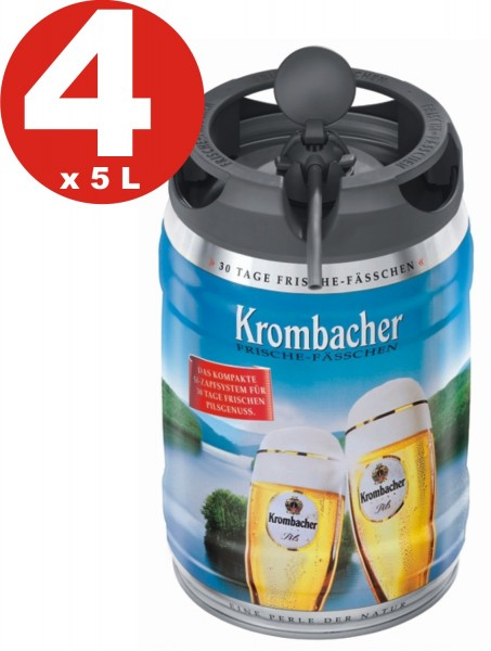 4 x Krombacher Pils fresh kegs, 5 liters of 4.8% vol
