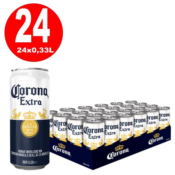 24 Corona Extra cans with 0.33L beer 4.5% alcohol inc. € 6.00 one-way deposit