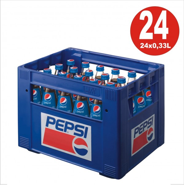 24 x Pepsi-Cola 0.33L glass bottle in original box
