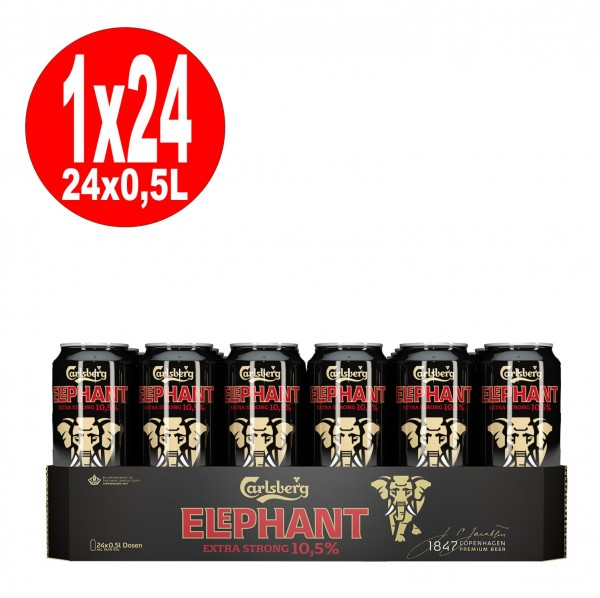 24x 0,5L cans Carlsberg Elephant Beer extra strong strong beer 10.5% Vol EINWEG