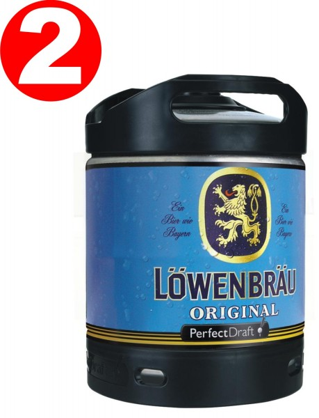 2 x Loewenbraeu Original beer Perfect Draft 6 liter drum 5.2% vol